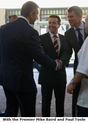 Edward with the Premier Mike Baird and Paul Toole minister for Local Government